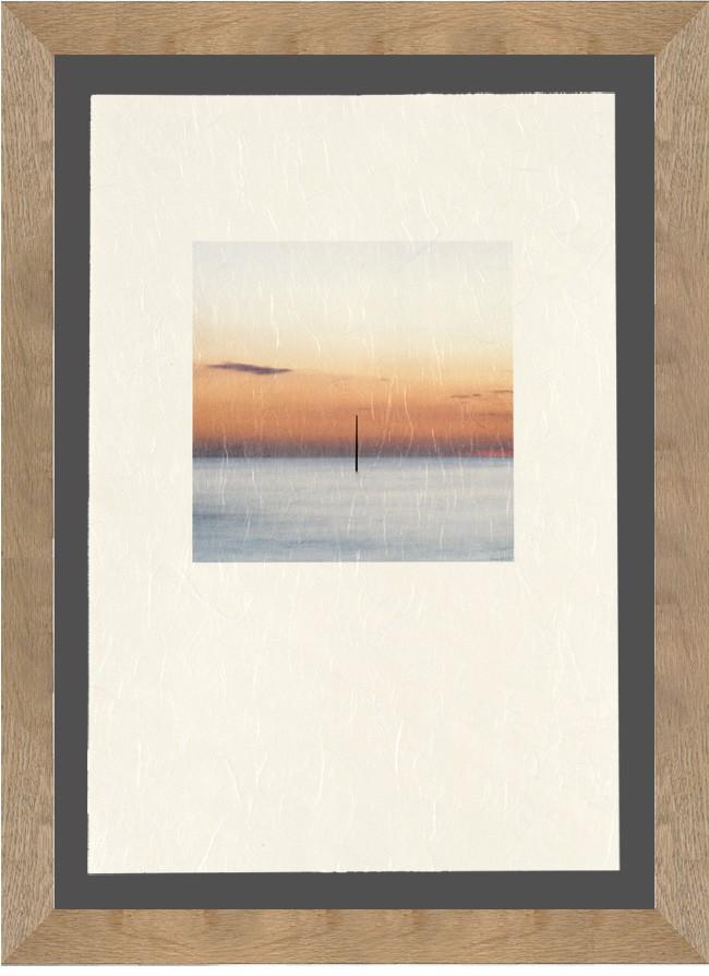 © Yvon HAZE - Tirage awagami Unryu avec baguettes plates 4cm chêne  sur fond dark grey