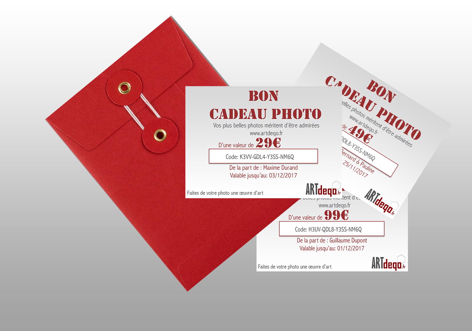 Bon Cadeau Photo Artdeqo pour impression photo et encadrement de qualité