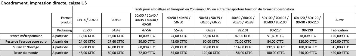 frais de port livraison cadre et encadrement www.artdeqo.fr